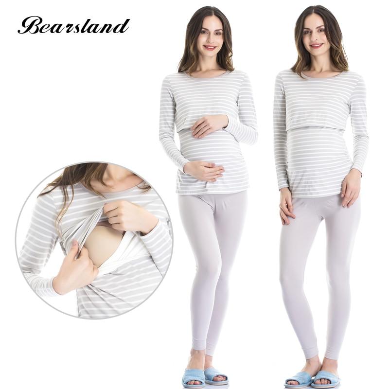 Bearsland Womens Maternity Nursing Pajamas Set 2 Pcs Breastfeeding Top and Pant