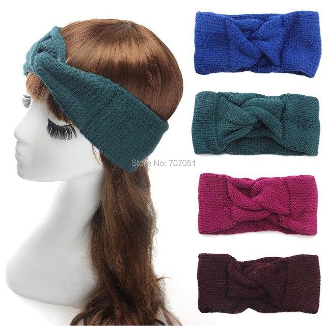 Mujeres Crochet turbante diadema hechos a mano de lana giro oído ...