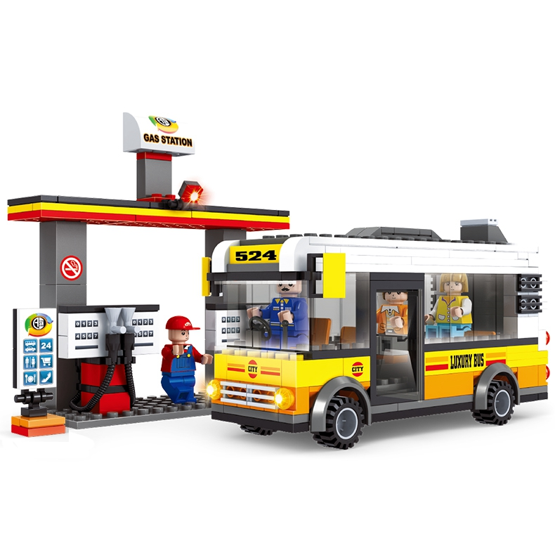 ФОТО Educational Enlighten City Bus Service Gasoline Station 324Pcs Building Blocks Bricks Compatible Lepin With Driver Minifig