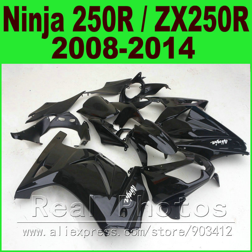 цена на Glossy black for Kawasaki Ninja 250r Fairings kit EX250 2008 - 2014 year model ZX 250 08 09 10 11 12 13 14 fairing kits R8L7
