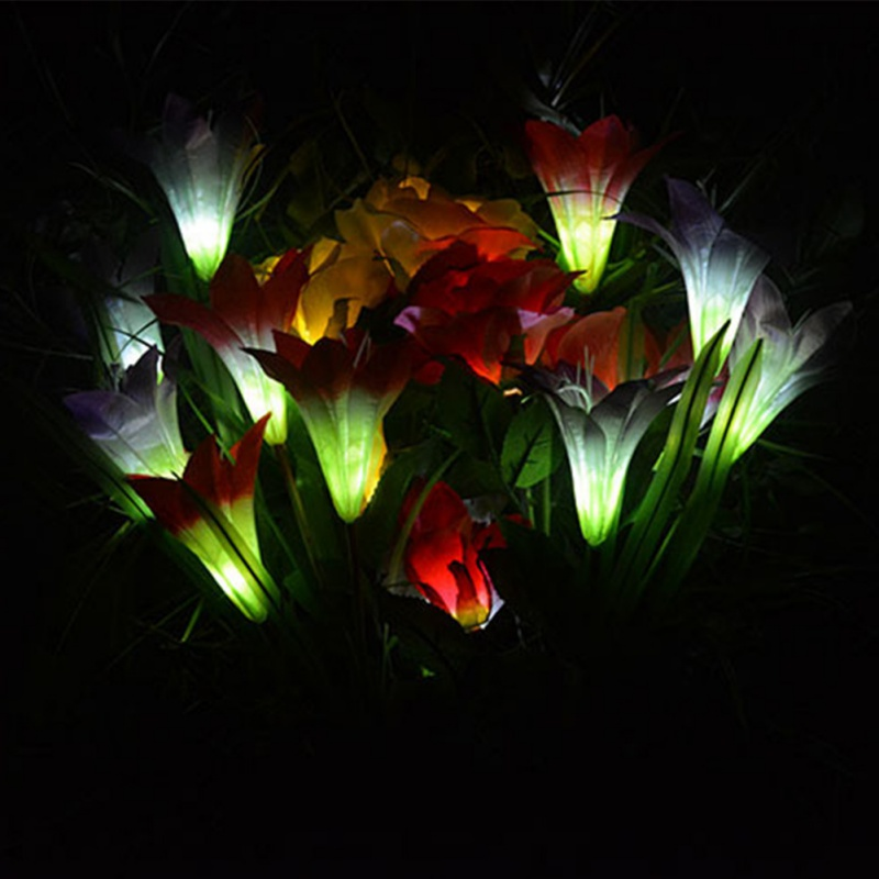 Lily Flower Solar LED Light Garden Yard Lawn 3 Led NightLight Lamp Landscape Garden Home Decoration Light New