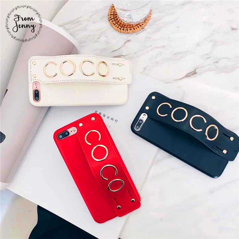 From Jenny Letters Strap Woman Phone Case Back Cover For iPhone 6 6plus 7 7plus 8 8plus X pu hard back cover Free Shipping