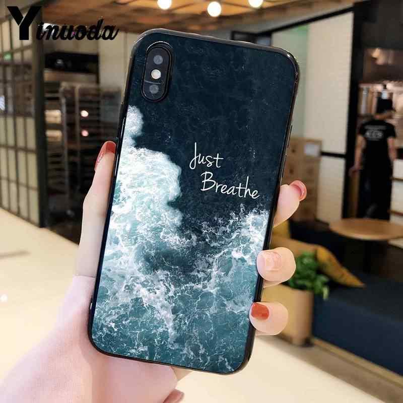 Yinuoda claro mar azul céu praia tpu macio preto caixa do telefone para o iphone x xs max 6s 7 mais 8 8 plus 5 5S se xr 11 11pro 11promax