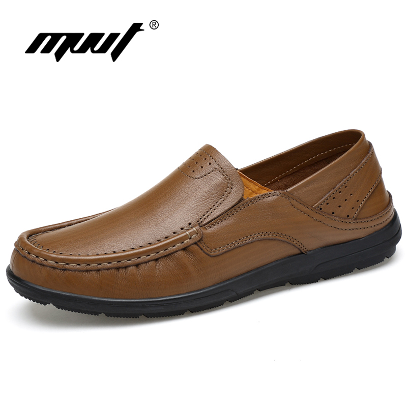 MVVT British Soft Men Loafers Äkta Läder Casual Shoes Flat Med - Herrskor