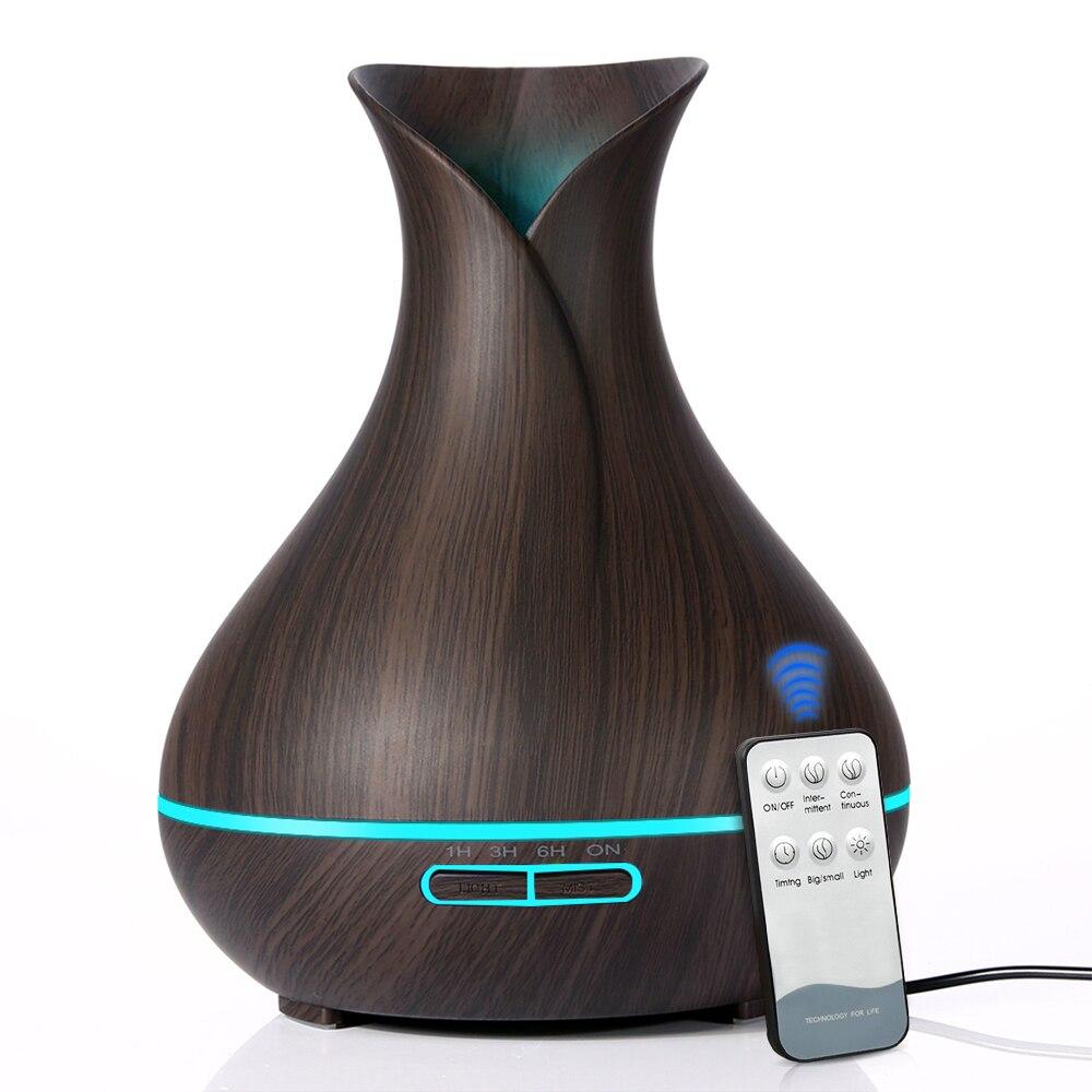 Télécommande 550 ml Aroma Huile Essentielle Diffuseur avec Bois Grain 7 Changement de Couleur LED Lumières pour Home Office