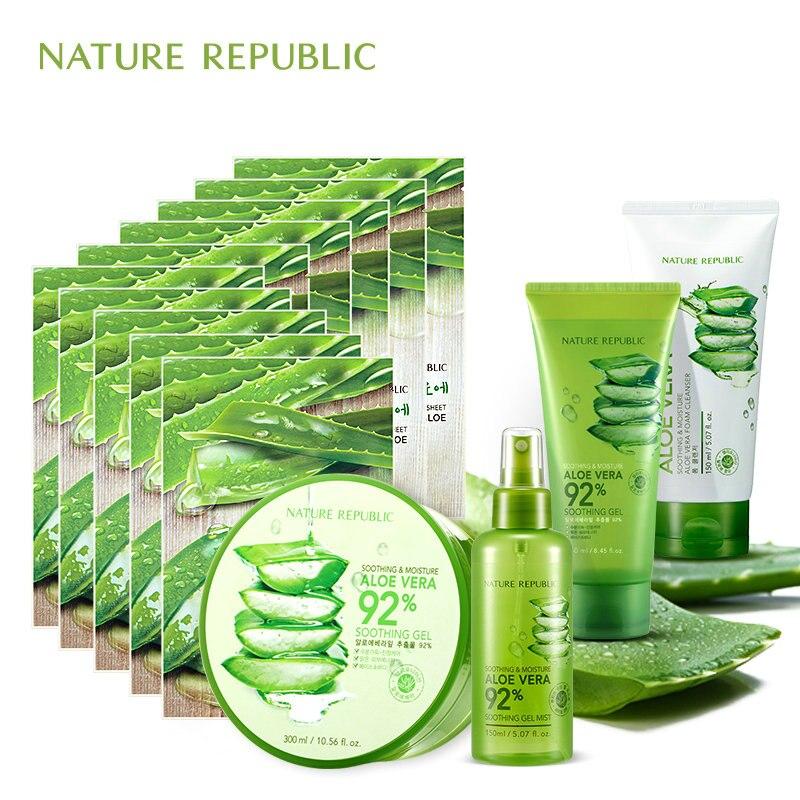 Natureza república aloe hidratante conjunto de controle de óleo aloe vera máscara facial spray facial limpeza facial cuidados com a pele coreano conjunto