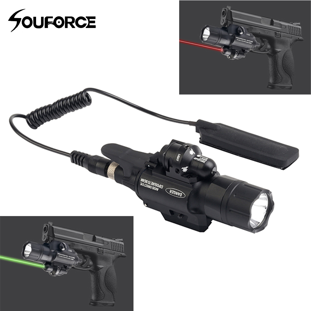 Tactical Green/Red Laser Sight with 500 Lumen Flashlight Combo for Hunting Rifle Airsoft Pistol Handgun 20mm Picatinny Rail greenbase tactical weapon light sf x300 hunting flashlight airsoft pistol scout light constant momentary output picatinny rail