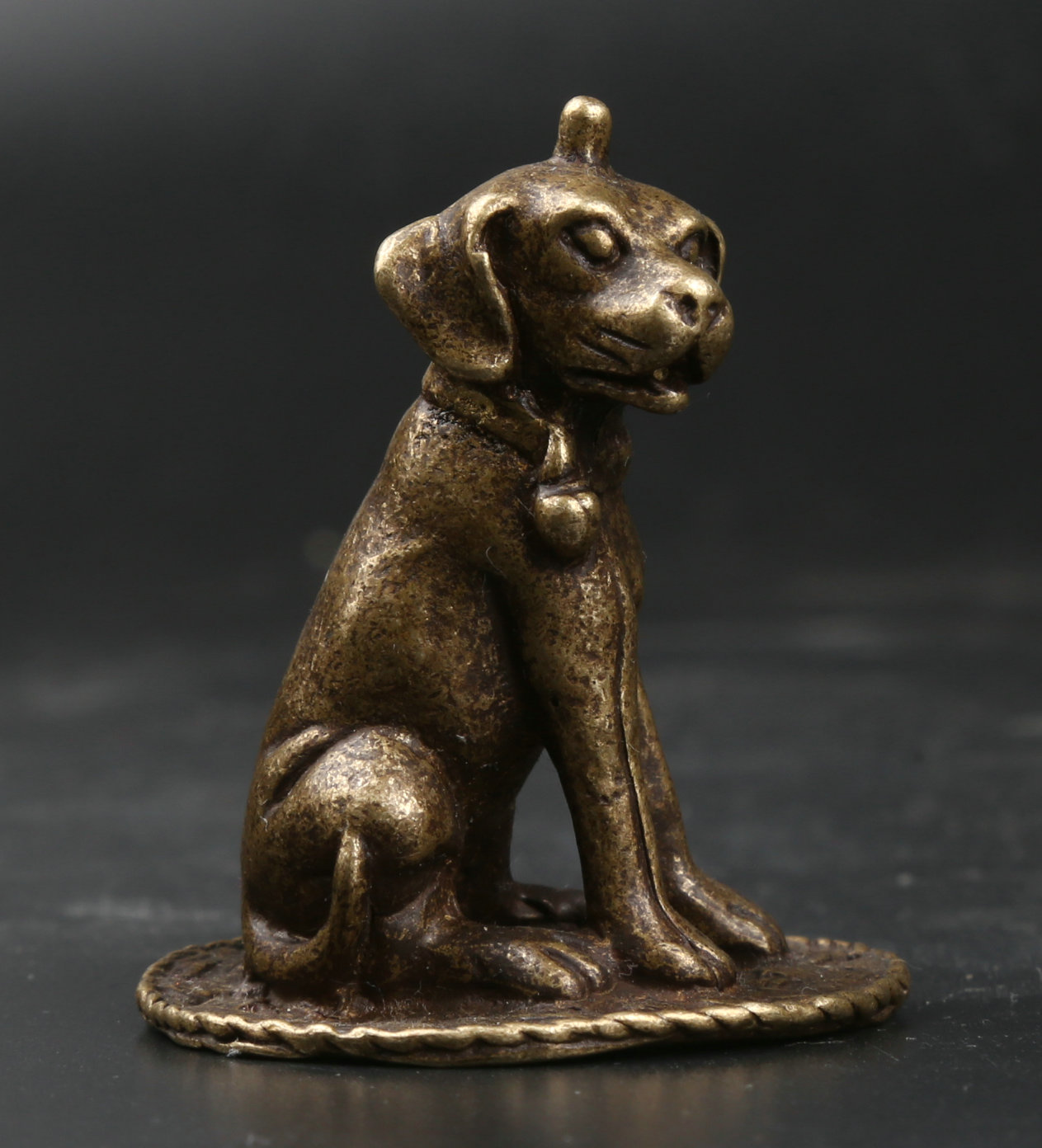 51MM/2 Collect Curio Rare Chinese Fengshui Small Bronze Exquisite Lovely Animal 12 Zodiac Year Bell Dog Doggy Statue 92g