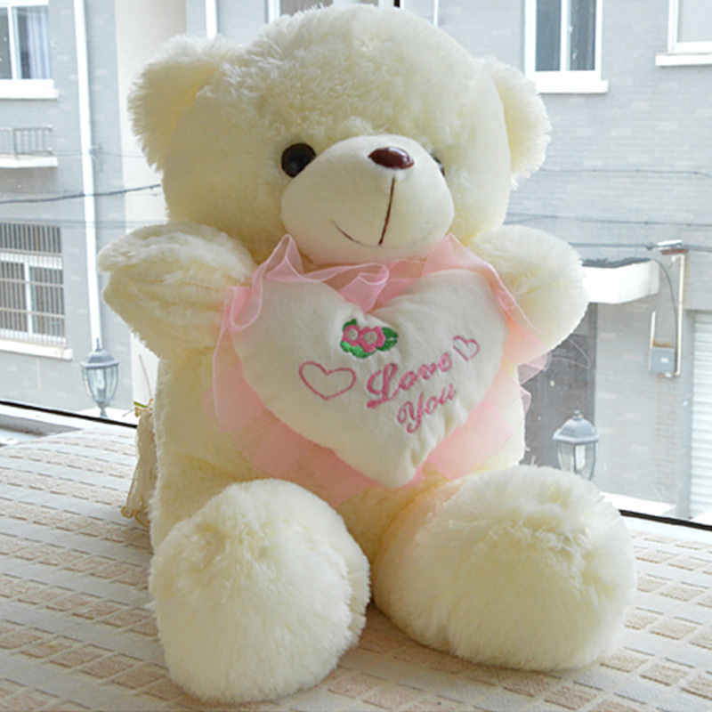 Children Birthday Gifts Ladies Cartoon Plush Honey Bear Dolls Girls Soft Stuffed Heart Toys Animal Valentine Gift 48cm