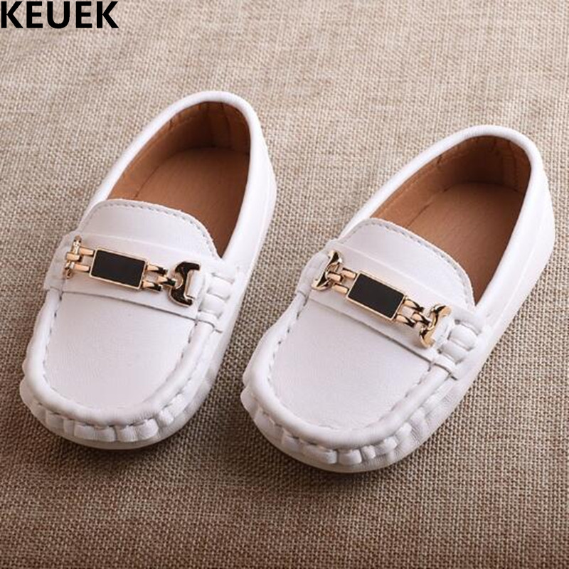 New Spring/Autumn Children Shoes Boys Girls Genuine Leather Single Shoes Baby Toddler Loafers Flats White Kids Shoes Black 03