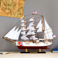 65cm Mediterranean Sailboat Model Home Decoration Solid Wooden Craft Ship Simulation Ship Gift Wooden Sail Boat
