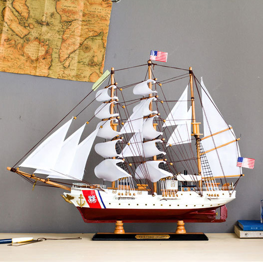 65cm Mediterranean Sailboat Model Home Decoration Solid Wooden Craft Ship Simulation Ship Gift Wooden Sail Boat Model Kits цена