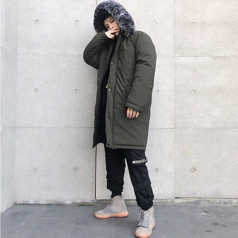 Veste d'hiver hommes épais chaud longues vestes Parkas hombre hommes fourrure à capuche veste longue automne hiver Trench manteau mâle - 5