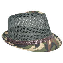 [FCY]British wind summer cool breathable hollow hat outdoor travel camouflage grid jazz