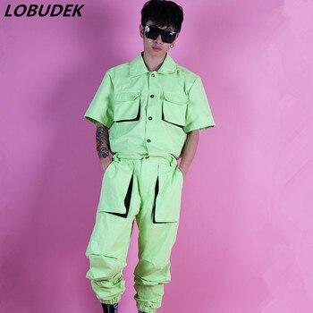 New Design Men Light Green Overalls Jumpsuit Tide Male Fashion Loose Cargo Pants Hip Hop Stage Costume Rock Singer Dancer Show