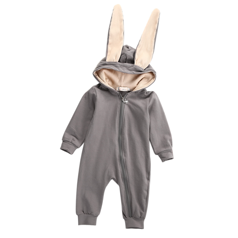 0-3Y Newborn Toddler Kids Baby Boy Girl Bunny Ear Long Sleeve Zipper Hooded Romper Jumpsuit Outfits Warm Clothes