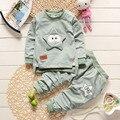 2017 de La Moda de Primavera Niñas Bebés Ropa de Los Muchachos Fija 2 Unids/set Lovly Cinco Inicio Niños Ropa de Algodón