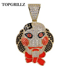 TOPGRILLZ 69 Saw Clown Pendant Necklace Iced Out Gold Silver Color Chains With Tennis Chain Hip Hop Men Women Charms Jewelry