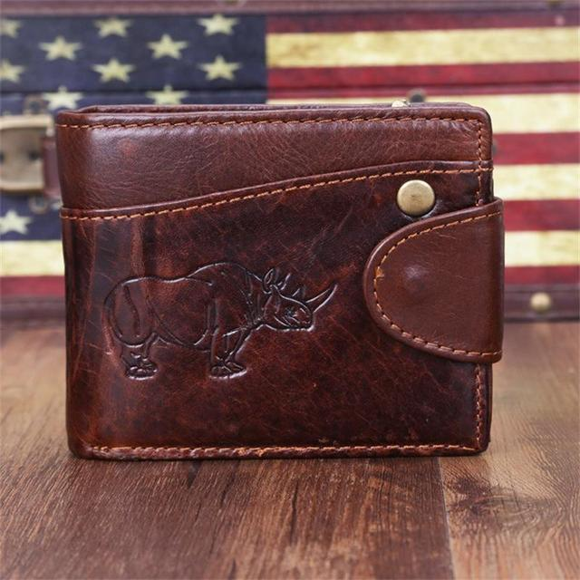 Men's Crazy Horse Leather Wallet Genuine Leather Wallet Cowhide Bifold Wallet With Coin Pocket And Card Holders Fast Post 2Style