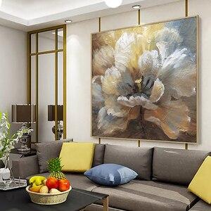 Image 4 - لوحة زيتية تجريدية مرسومة يدويًا لعام 100% على قماش كتان لتزيين صور بدون إطار لغرفة المعيشة هدايا ديكور منزلي