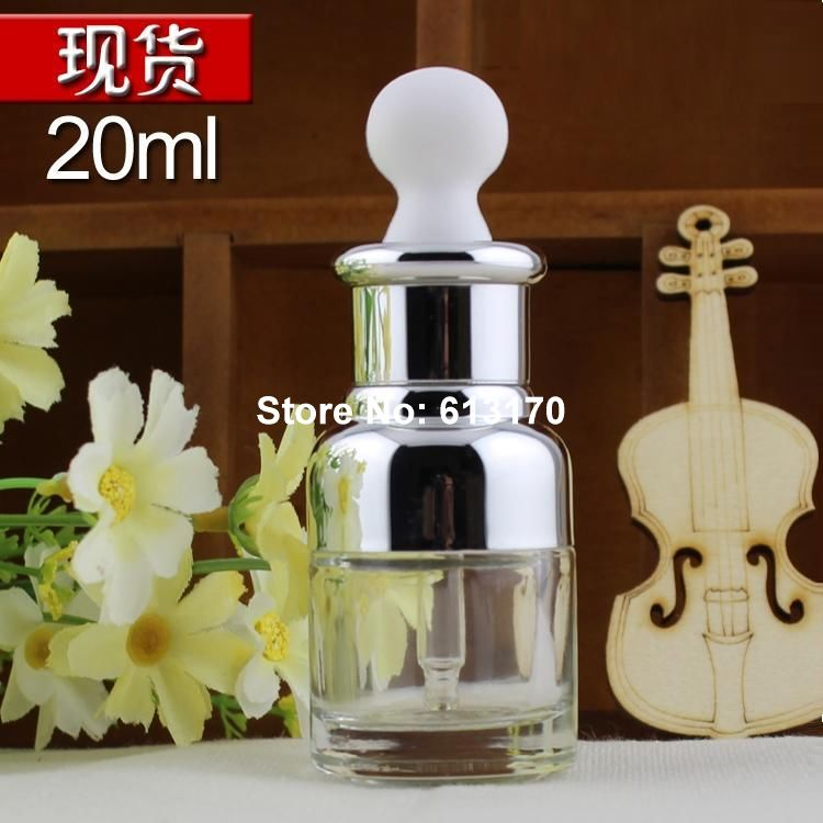 20ML Dropper Glass bottles Empty Pipette Clear Essential Oil vials Silver collar White rubber Cosmetic refilling