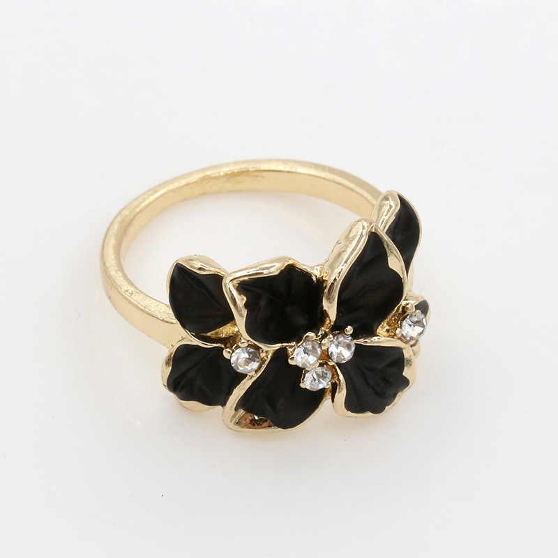 สีทองคริสตัลแหวนดอกไม้Rhinestoneสีดำสีขาวเคลือบแหวนผู้หญิงนิ้วเพทายเครื่องประดับหมั้นวงแต่งงาน