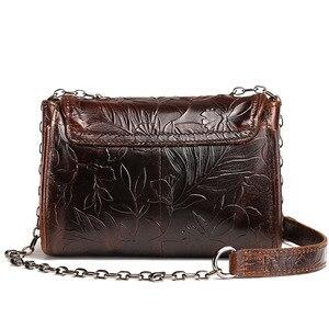 Image 3 - Johnature 2020 nouveau Vintage en cuir véritable fleur en relief rabat poche polyvalent épaule et sacs à bandoulière mode femmes rabat