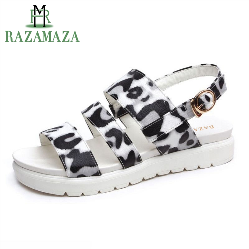 RAZAMAZA Women Sandals With Open Toe Buckle Leopard Women Fashion Summer Shoes For Vacation Daily Footwear Size 33-39