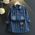 2 UNIDS/2-7años/Primavera Otoño Niñas Bebés Trajes Raya Chaqueta + Falda de Mezclilla Ocasional Coreano Niños Ropa de Los Niños ropa Set BC1012