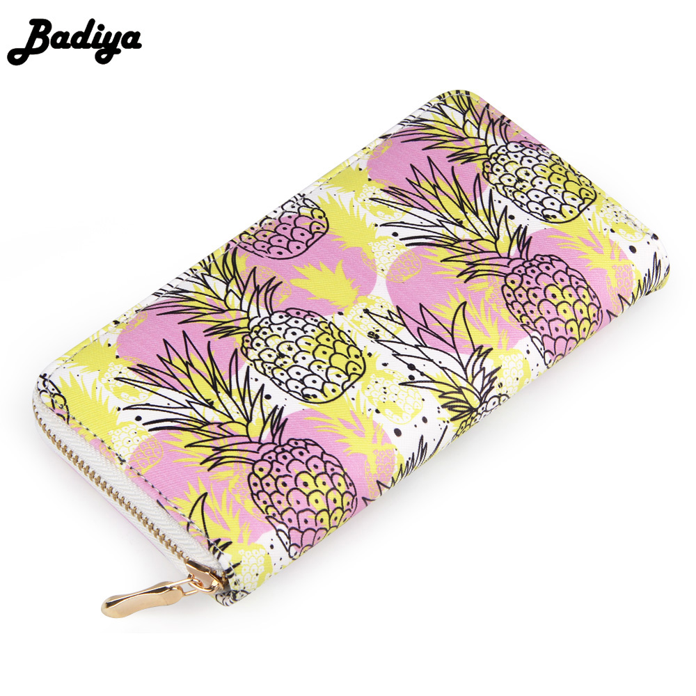 Badiya Women Pineapple Fruit Printing Summer Long Wallet PU Leather Phone Pocket Ladies Card Holder Bag Girls Zipper Coin Purse