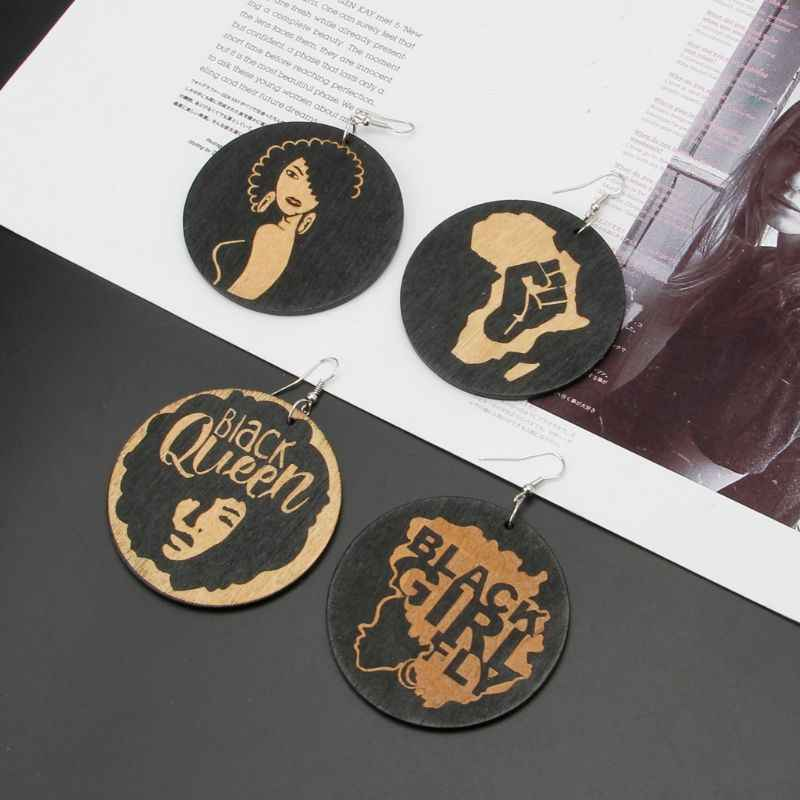 Natural Wood Africa Black Gueen Reggae Earrings Women Exaggerated Bib Jewelry
