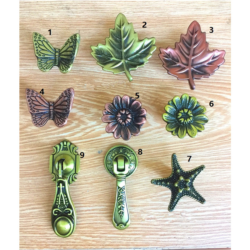 Vintage Alloy Furniture Handle Starfish Knobs and Door Handles Leaf Handle Cupboard Drawer Kitchen Modern Pull Knob Hardware,1PC 1 pair 96mm vintage furniture cupboard wardrobe handles and knobs antique bronze alloy kitchen cabinet door drawer pull handle