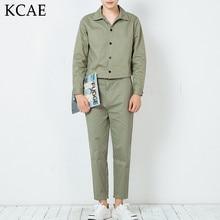 M-XL ! 2016 Autumn men's new male personality design slim black skinny pants jumpsuit singer costumes Khaki