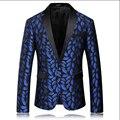 Уникальный Дизайн мужской Моды Вышитые Платье Костюм Осень И Зима Британский Мужской Моды Синий Пиджаки