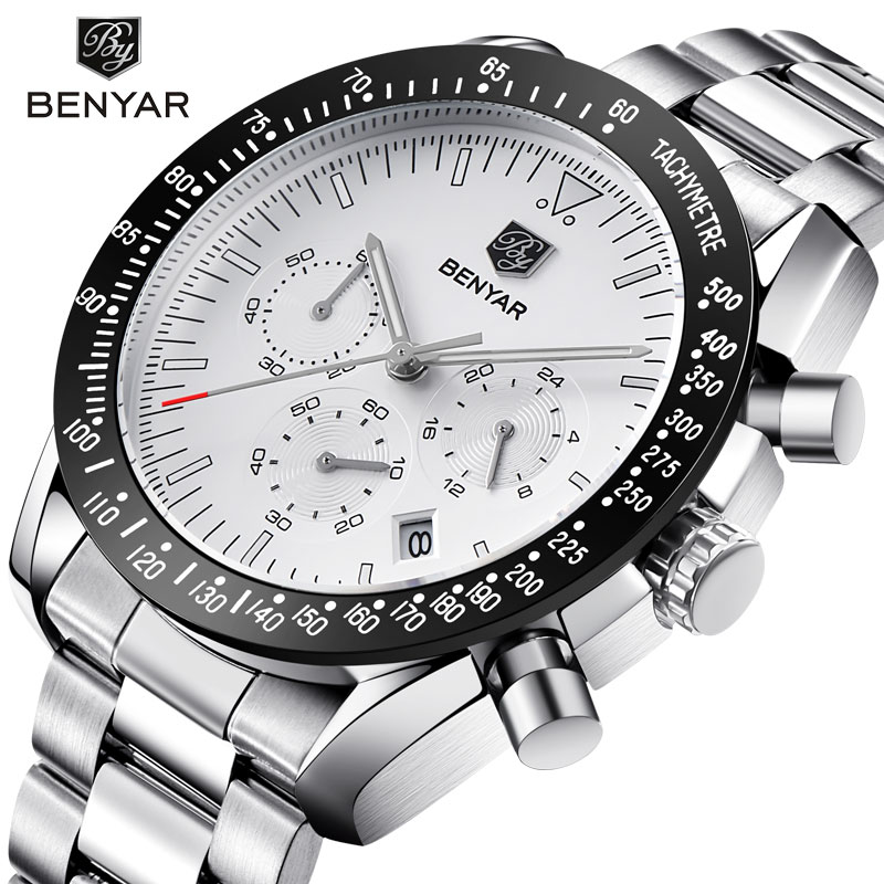 BENYAR New Men's Watches Luxury Stainless Steel Men's Watch Casual Fashion Chronograph Quartz Watches Men Clock Relogio Mascul
