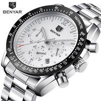 BENYAR New Men's Watches Luxury Stainless Steel Men's Watch Casual Fashion Chronograph Quartz Watches Men Clock Relogio Mascul