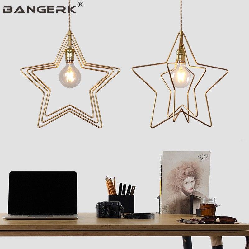 American Vintage Edison LED Pendant Lamp Iron Gold Creative Pentagram Hanging Light Loft Lamps Pendant Lighting Home Decor