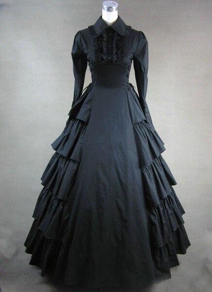 Adult Women Halloween Costume Gothic Black Steampunk Costume Victorian Steampunk Luxury Vintage Gown Robe Dress For Ladies XXL