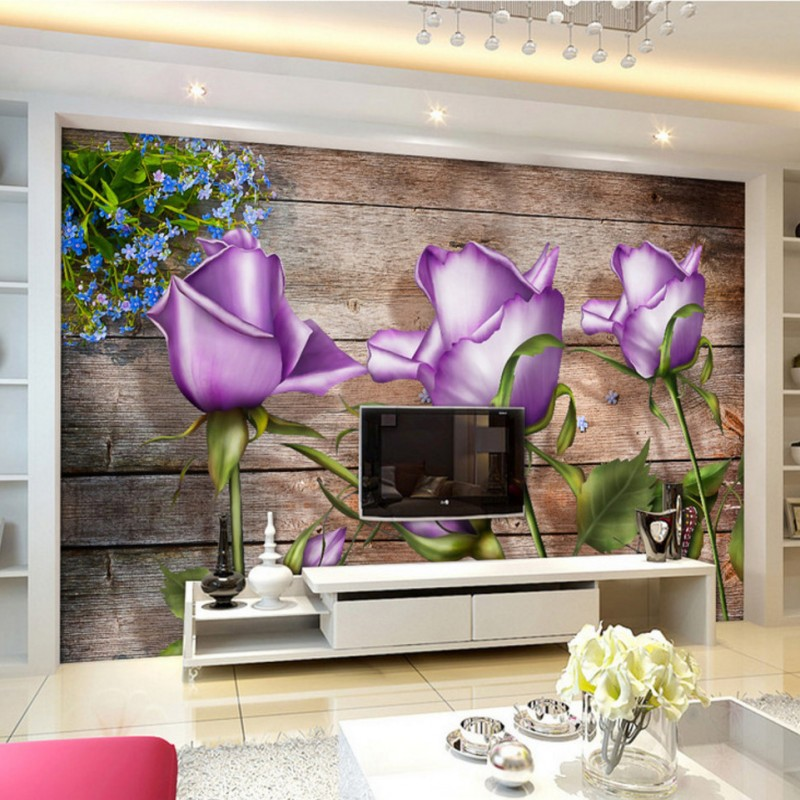 Custom photo wallpaper Purple Rose wooden wall background custom high quality murals wallpaper home TV decorative beautiful net color decorative pattern design of modern household wall paint murals background wallpaper with high quality papel