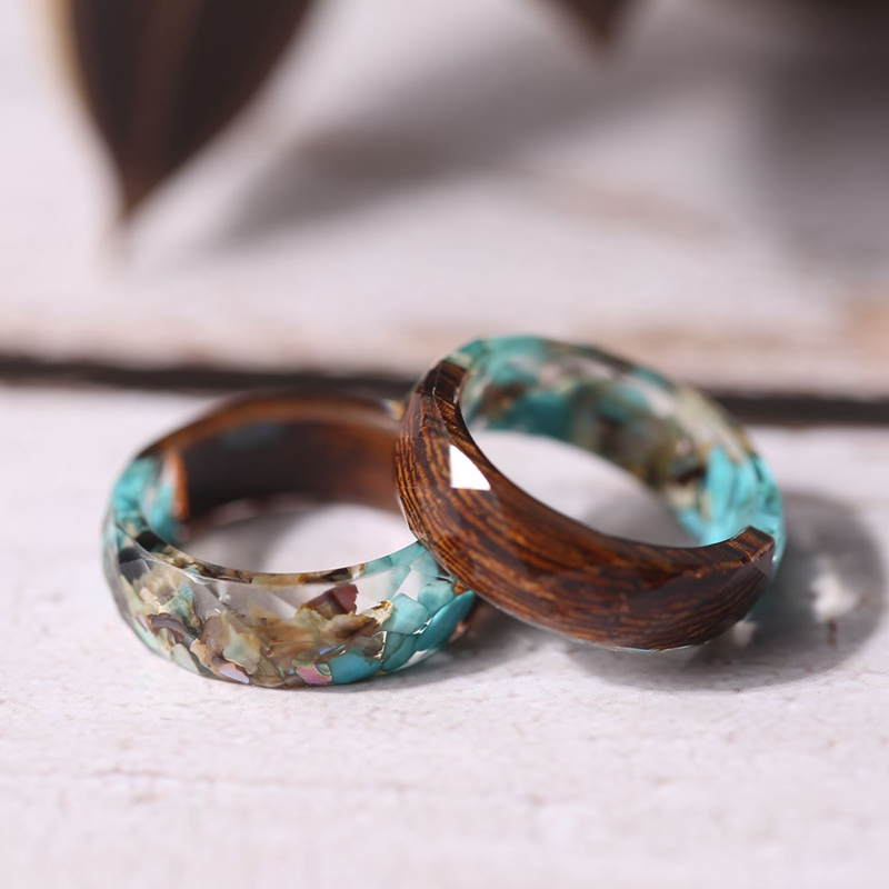 Vintag Blue Stones And Wood Rings Transparent Epoxy Resin Round Finger Rings For Women Men Jewelry Anillos Mujer TN-0212