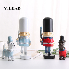 VILEAD 11.5cm 20.5cm Resin Soldier And Dog Figurines Nordic Ornaments Creative Home Living Room Soft Decorations Birthday Gifts