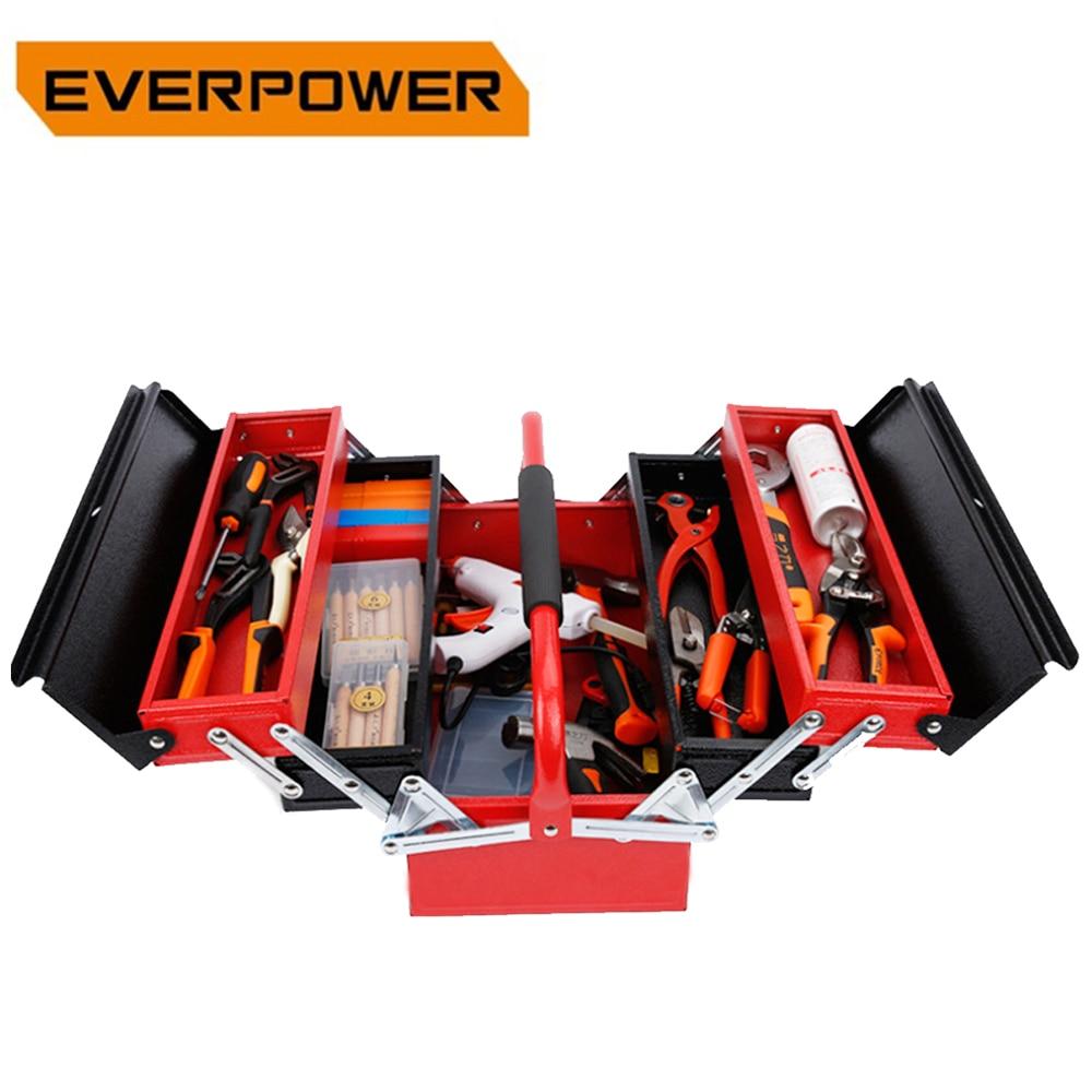 4-Tray&3-Layer Folding Iron Tools Organizer Box with Handle Multi-Functional Lock Hole Design Home Use Large Capacity Storage
