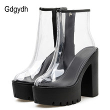 Gdgydh Spring Summer Boots Womens PVC Clear High Block Heels Side Zipper Ankle Boots Platform Shoes Rubber Sole Good Quality(China)