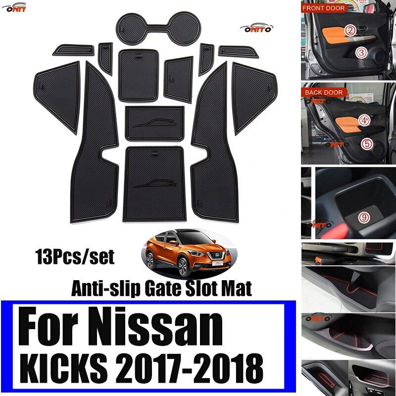 Auto Decoration 13PCS Car Interior Groove Mat Gate Solt Pad Door Mat Cup Mat Special For NISSAN KICKS 2017-2018