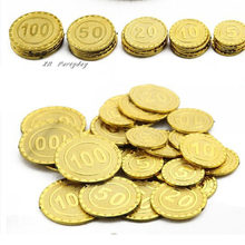 Plastic Gold Treasure Coin Captain Pirate Coin Baby Kids Props Decoration Toys For Boys(China)