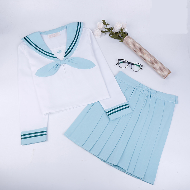 Japanese school uniforms anime COS sailor suit tops+bow tie+skirt JK Navy style Students clothes for Girl short sleeve