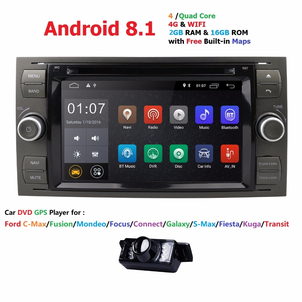 2 din Android 8.1 Quad Core Car DVD Player GPS Navi for FORD FOCUS/MONDEO/C-MAX with Audio Radio Stereo Head Unit Free CameraMap