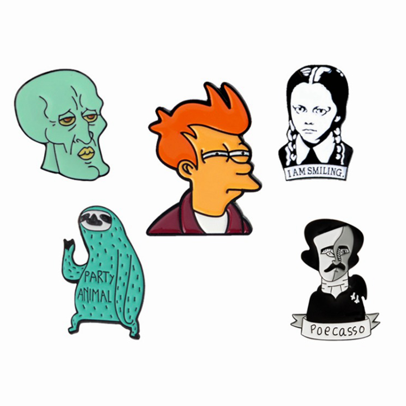 """Character model Pin""""Philip J. Fry Adams family Sloth Poecasso devil""""Enamel brooches badges Lapel Pin Jewelry Fashion Gifts"""