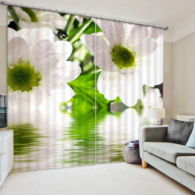 € 62.24 59% de réduction Décor à la maison moderne 3D Photo blanc fleur  rideaux 3D rideaux occultants salon chambre rideaux transparents dans ...