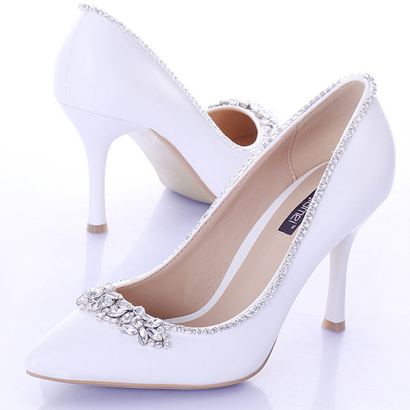 9cm Heels Women Pumps Satin Formal Dress Shoes Sweet White Bridal Shoes with Crystal Pointed Toe  Wedding Party Prom Shoes